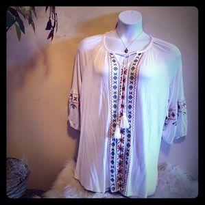 🔥SALE🔥 White cotton shirt w/peach and green trim